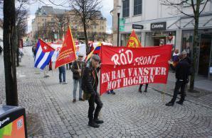 Uppställning inför demonstrationståg
